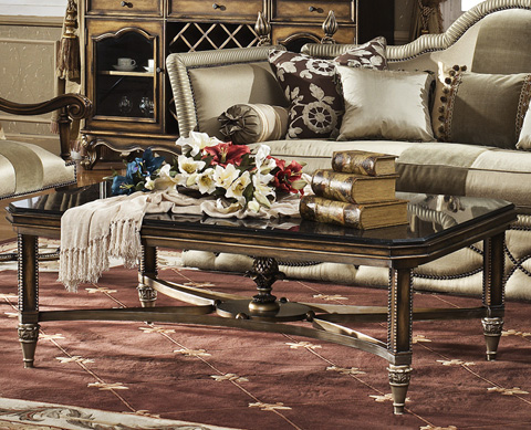 Orleans International - Giverny Coffee Table with Granite Top - 4917-007