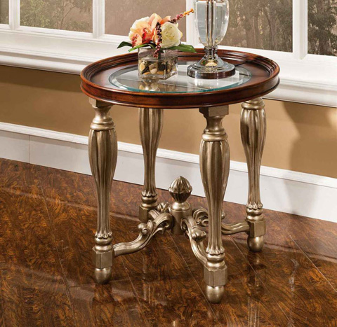 Image of Vienna End Table with Glass Top