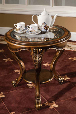Image of Barivia End Table with Glass Top