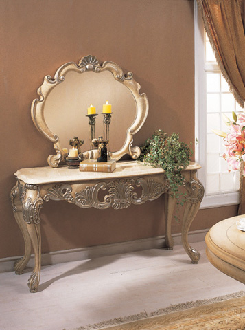 Orleans International - Chardonnay Console Table with Marble Top - 709-006