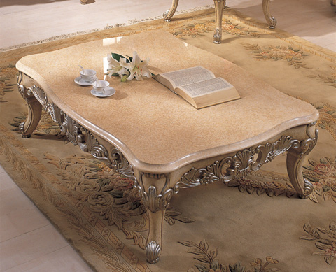 Orleans International - Chardonnay Coffee Table with Marble Top - 709-007