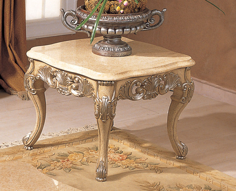 Image of Chardonnay Lamp Table with Marble Top