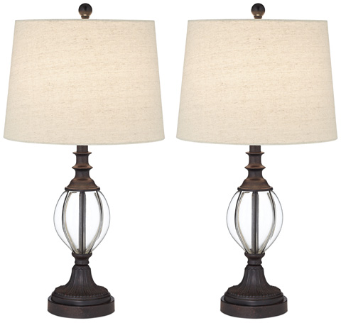 Pacific Coast Lighting - Glass Ribbed Table Lamps, Two Pack - 87-137-20