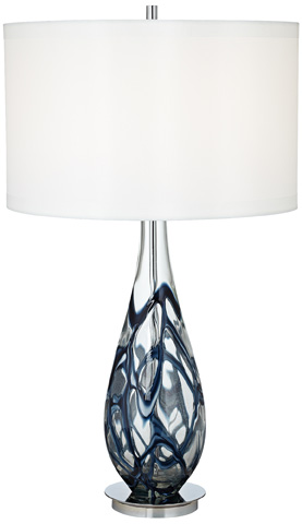 Image of Indigo Swirl Art Glass Table Lamp
