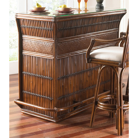 Pelican Reef - Indoor Rattan and Bamboo Bar with Glass - 710-6216-ATQ