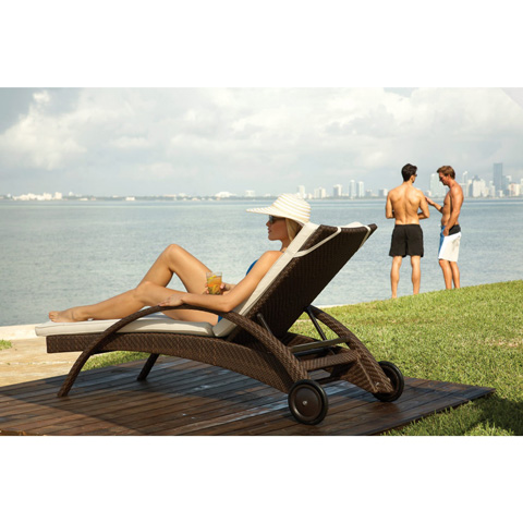 Image of Patio Chaise Lounge with Wheels