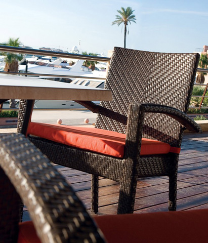 Image of Patio Stackable Arm Chair
