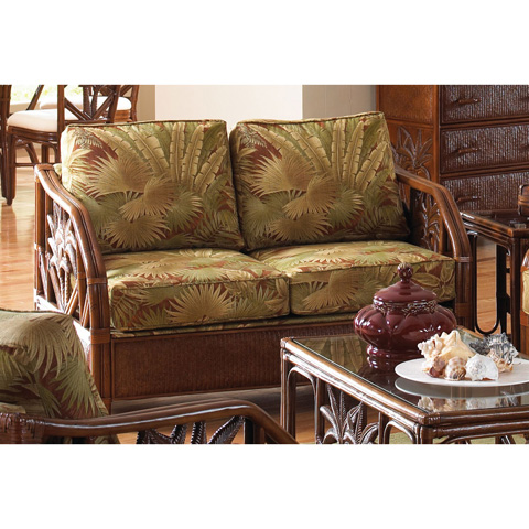 Image of Upholstered Rattan and Wicker Loveseat