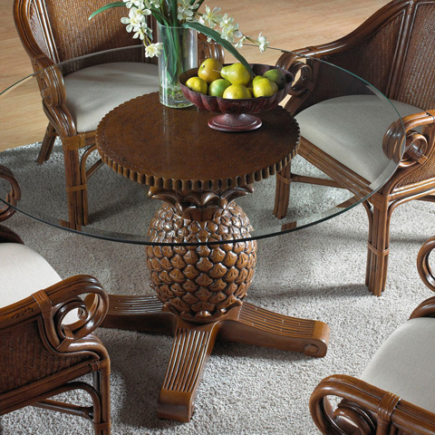 Image of Indoor Rattan and Wicker Pineapple Dining Table