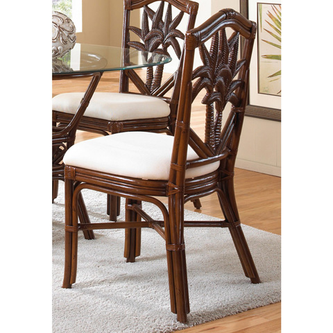 Image of Indoor Rattan and Wicker Side Chair with Cushion