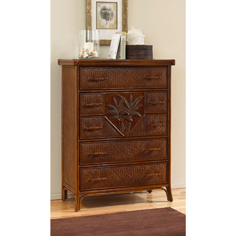 Pelican Reef - Havana Palm Five Drawer Chest - 401-5309-TCA