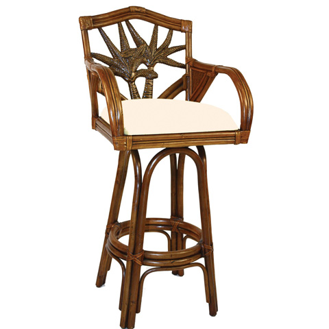 Image of Indoor Swivel Rattan and Wicker Barstool