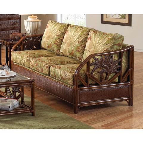 Image of Havana Palm Rattan and Wicker Sleeper Sofa