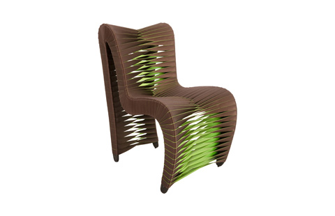 Image of Seat Belt Outdoor Dining Chair in Brown