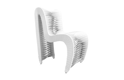 Image of Seat Belt Outdoor Dining Chair in White