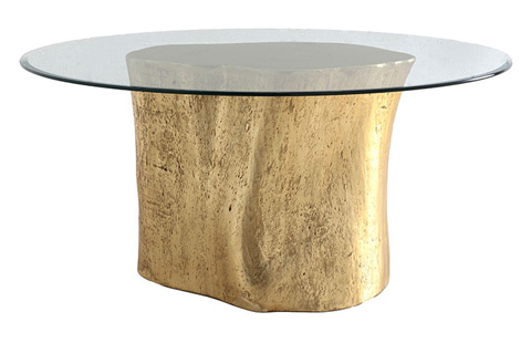 Image of Log Table with Glass Top