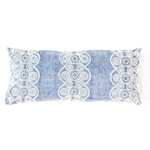 Pine Cone Hill, Inc. - French Knot Blue Decorative Pillow - FKBDPDB