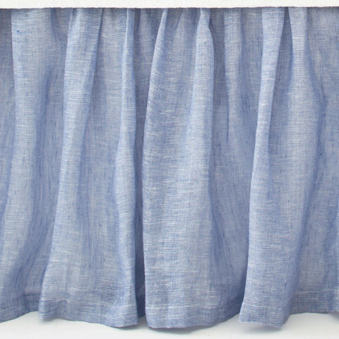 Pine Cone Hill, Inc. - Savannah Linen Chambray French Blue Bed Skirt-King - SAFBBSK
