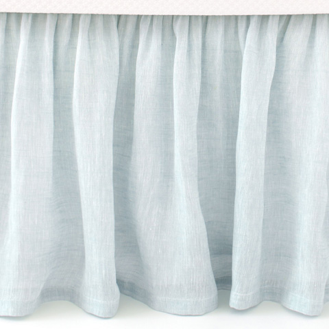 Pine Cone Hill, Inc. - Savannah Linen Chambray Sky Bed Skirt in King - SASBSK