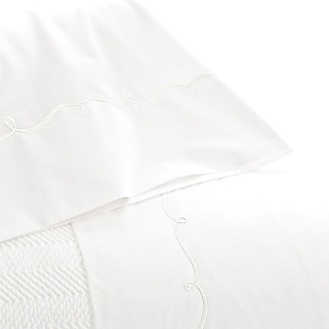 Pine Cone Hill, Inc. - Embroidered Hem White/White Sheet Set in Queen - SESWQ