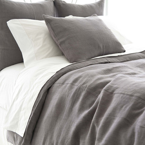 Pine Cone Hill, Inc. - Stone Washed Linen Shale Duvet Cover in Full/Queen - SWGRDCQ