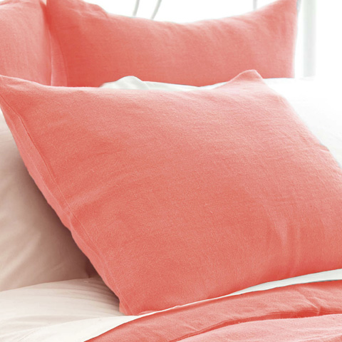 Pine Cone Hill, Inc. - Stone Washed Linen Coral Sham-Standard - SWLCSHS