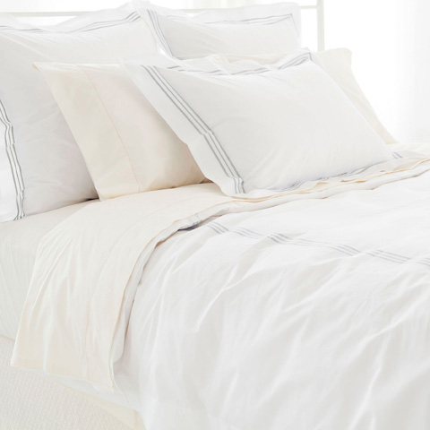 Pine Cone Hill, Inc. - Trio Pearl Grey Duvet Cover in Full/Queen - TRGDCQ