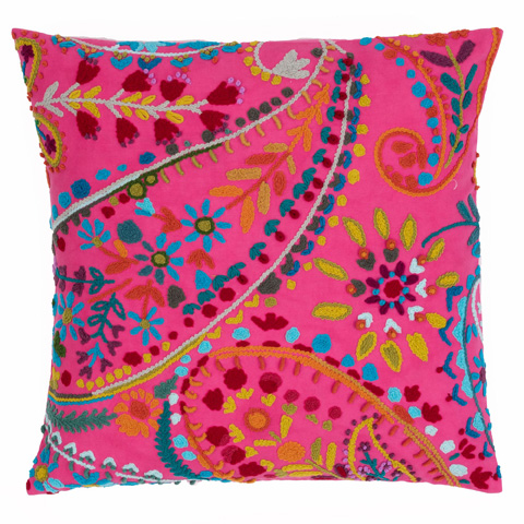 Image of Amelie Fuchsia Embroidered Decorative Pillow