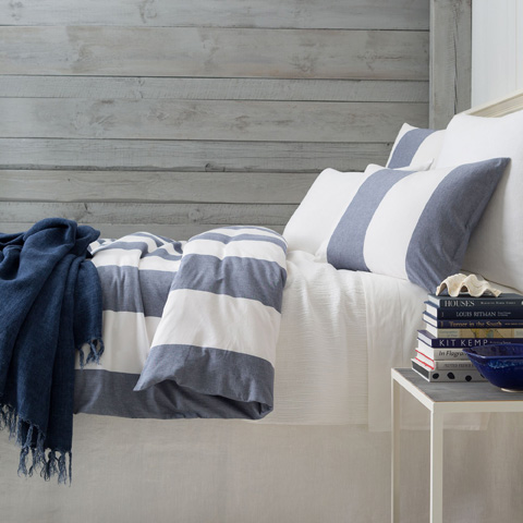 Image of Spinnaker Stripe Indigo Duvet Cover in Queen