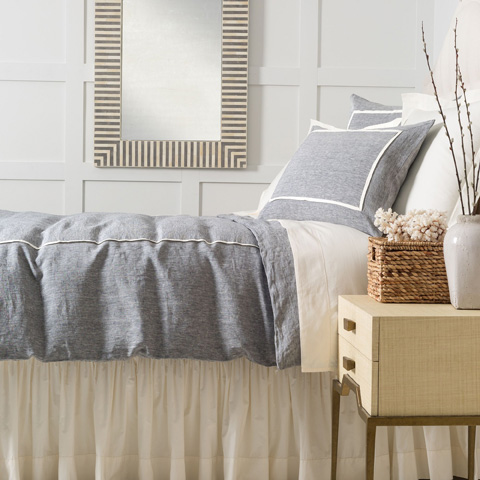Image of Keaton Linen Indigo Duvet Cover in Queen