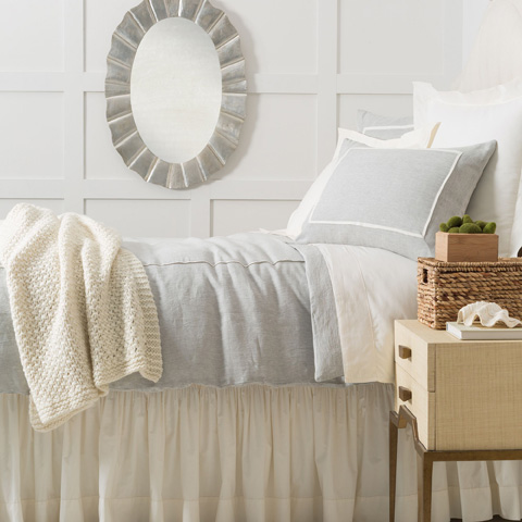 Image of Keaton Linen Sky Duvet Cover in Queen