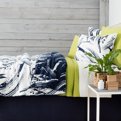 Image of Brushstroke Reversible Duvet Cover in Queen