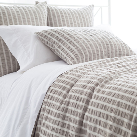 Image of Parker Pearl Grey Duvet Cover in Queen