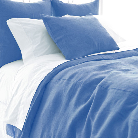 Image of Stone Washed Linen French Blue Duvet Cover -Queen