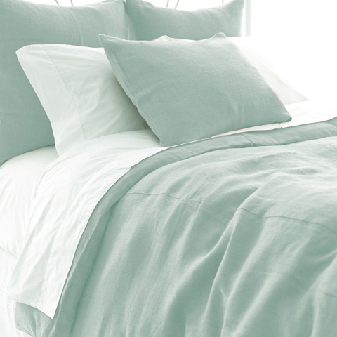 Image of Stone Washed Linen Sky Duvet Cover in Queen