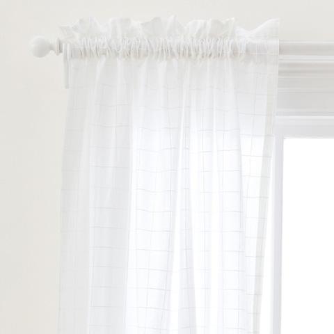 Image of Grid Stitch White Curtain Panel