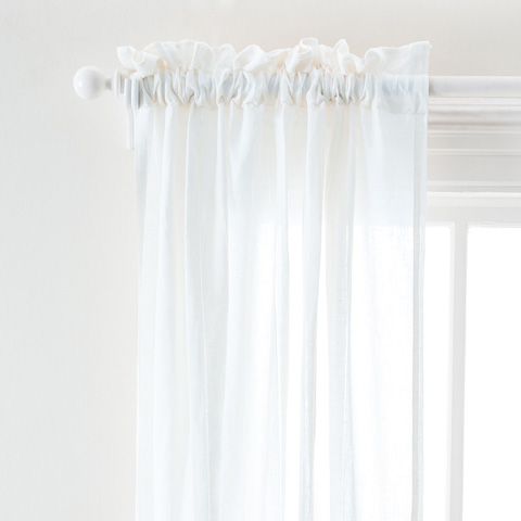 Image of Hemstitch Stripe White Curtain Panel