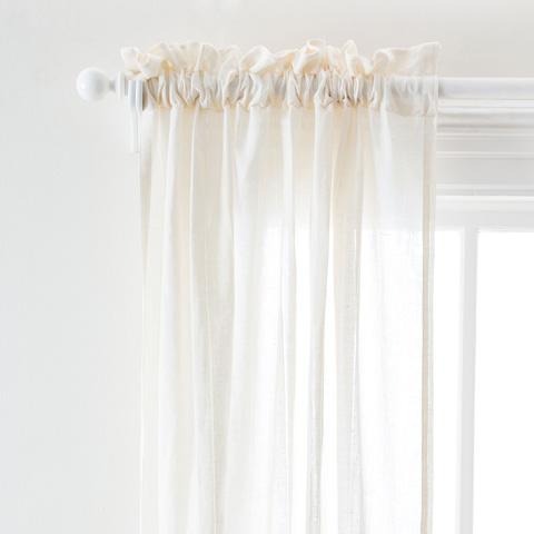 Image of Hemstitch Stripe Ivory Curtain Panel