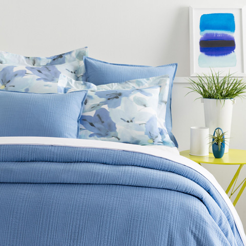 Image of Kelly French Blue Matelassé Queen Coverlet