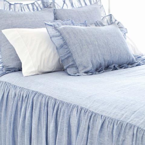 Image of Savannah Linen Chambray Queen Blue Bedspread