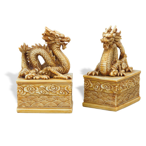 Port 68 - Set of Two Dragon Ivory Bookeneds - ACFM-101-04