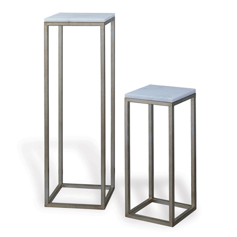 Image of Drake Silver and White Marble Pedestals (Set Of 2)