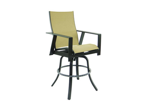 Image of Trento High Back Sling Swivel Barstool
