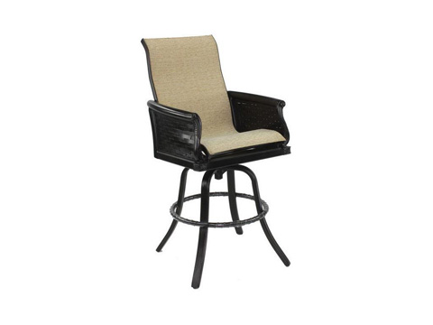 Image of English Garden High Back Sling Swivel Barstool