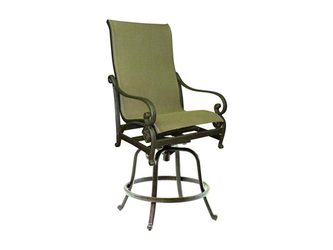 Image of Heritage High Back Sling Swivel Counter Stool