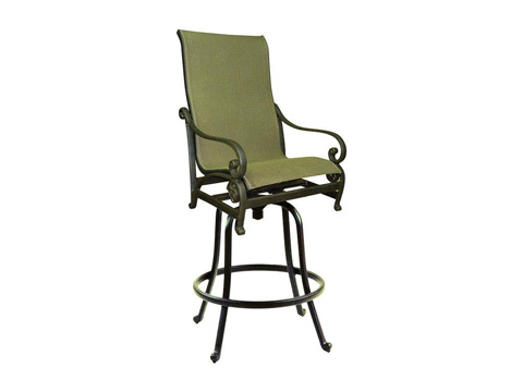Image of Heritage High Back Sling Swivel Barstool
