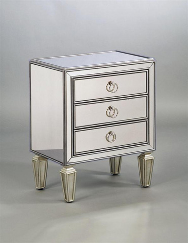 Image of Three Drawer Mirrored Chairside Chest