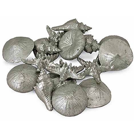 Image of Assorted Silver Mini Seashells (Set Of Twelve)