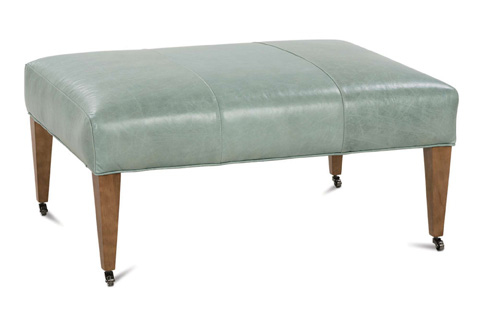 Robin Bruce - Ashby Leather Ottoman with Casters - ASHBY-L-005