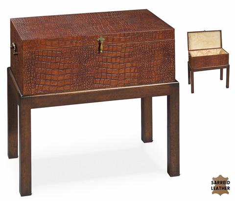 Sarreid Ltd. - Alligator Leather Box On Stand - 23375